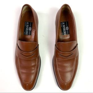 a. testoni brown leather loafer, rubber sole S 11